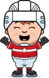 Cartoon Hockey Player Celebrate Stock Images