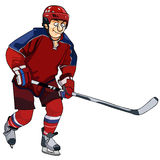 Cartoon hockey player in the red form with a stick Royalty Free Stock Images
