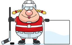 Cartoon Hockey Player Sign Stock Image