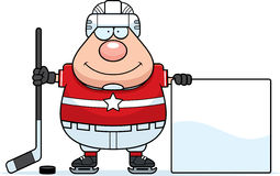 Cartoon Hockey Player Sign Royalty Free Stock Photos