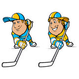 Cartoon Hockey Players Set Stock Images