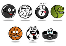 Cartoon hockey puck and sporting balls mascots Stock Photo