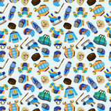 Cartoon hockey sport seamless pattern Royalty Free Stock Photos
