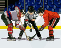 Cartoon hockey throwing the puck Royalty Free Stock Image