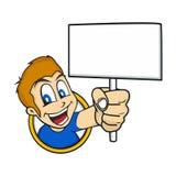 Cartoon holding blank sign Stock Photos