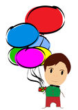 Cartoon holding many balloons Stock Images
