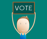 Cartoon holds a sign vote,  Stock Images