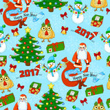 Cartoon holiday pattern with Santa Claus, Christmas tree, gifts, rooster, snowman, bells, bows and snowflakes Stock Photos