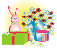 Cartoon holiday rabbit. Vector illustration Royalty Free Stock Photography