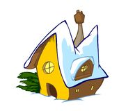 Cartoon Home. Illustrated house Painting in isolated Royalty Free Stock Photo