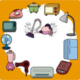 Cartoon home appliance card. Drawing Royalty Free Stock Photos