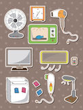 Cartoon home appliance stickers. Cartoon vector illustration Royalty Free Stock Photos