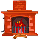 Cartoon Home Fireplace. Isolated on White Background Royalty Free Stock Photography