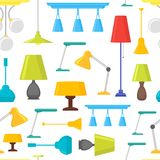 Cartoon Home Illumination Lamp Background Pattern on a White. Vector Stock Images