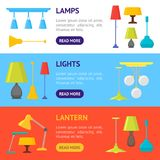 Cartoon Home Illumination Lamp Banner Horizontal Set. Vector Stock Images