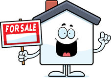 Cartoon Home Sale Idea. A cartoon illustration of a home for sale with an idea Stock Photos