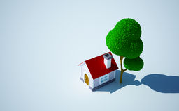 Cartoon home and tree Royalty Free Stock Images