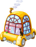 Cartoon home on wheels with flowers and black cat  Royalty Free Stock Images