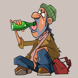 Cartoon homeless man drinks sitting on the ground Royalty Free Stock Images