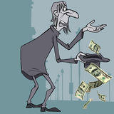 Cartoon homeless man gets alms dollars. In the hat Royalty Free Stock Photos