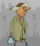 Cartoon homeless man in a tattered coat with bag in hand. Cartoon homeless man in tattered coat with bag in hand Stock Photos