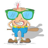 Cartoon hooligan with a baseball bat Stock Images