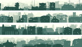 Cartoon horizontal banners of town roofs. Stock Image