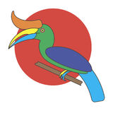 Cartoon Hornbill bird. Royalty Free Stock Photography