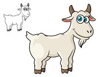 Cartoon horned farm goat Stock Images