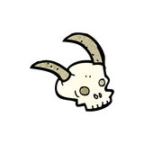 Cartoon horned skull Stock Photos