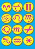 Cartoon horoscope symbols. Colorful bevel and emboss cartoon horoscope symbols Royalty Free Stock Photos