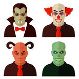 Cartoon horror characters,. Evil clown, scary devil, creepy zombie, dracula vampire Stock Photography