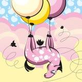 Cartoon horse in apples. Horse floating in vanilla heaven on balloons Stock Photos
