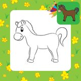 Cartoon horse. Coloring page Stock Photos