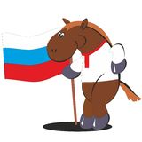 Cartoon horse with flag of Russia 012 Royalty Free Stock Photo