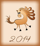 Cartoon horse with a flowing long mane Royalty Free Stock Photography
