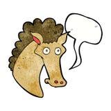 Cartoon horse head with speech bubble Stock Photos