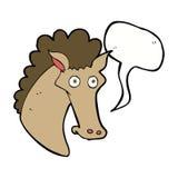 Cartoon horse head with speech bubble Stock Image