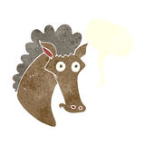 Cartoon horse head with speech bubble Royalty Free Stock Photos