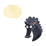 Cartoon horse head with thought bubble Royalty Free Stock Image