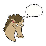 Cartoon horse head with thought bubble Royalty Free Stock Images