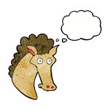 Cartoon horse head with thought bubble Royalty Free Stock Photos