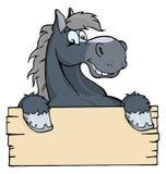 Cartoon horse label stock illustration
