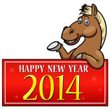 Cartoon Horse. With New year Sign Stock Photography