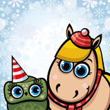 Cartoon horse and owl. Royalty Free Stock Image