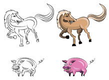 Cartoon horse and pig Stock Images