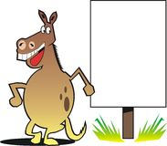Cartoon horse with sign Royalty Free Stock Image