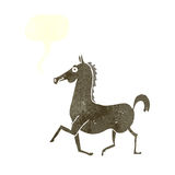 Cartoon horse with speech bubble Stock Photo