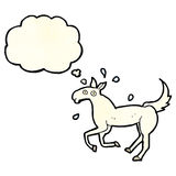 Cartoon horse sweating with thought bubble Royalty Free Stock Photos