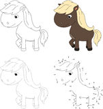 Cartoon horse. Vector illustration. Dot to dot game for kids Royalty Free Stock Image